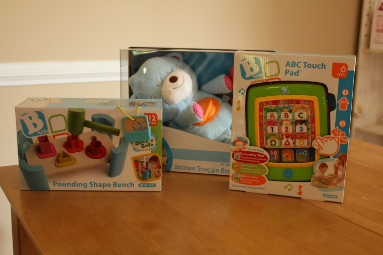 3 Products I was sent: Pounding Shape Bench, Bobbee Snuggle Bear, & ABC Touch Pad