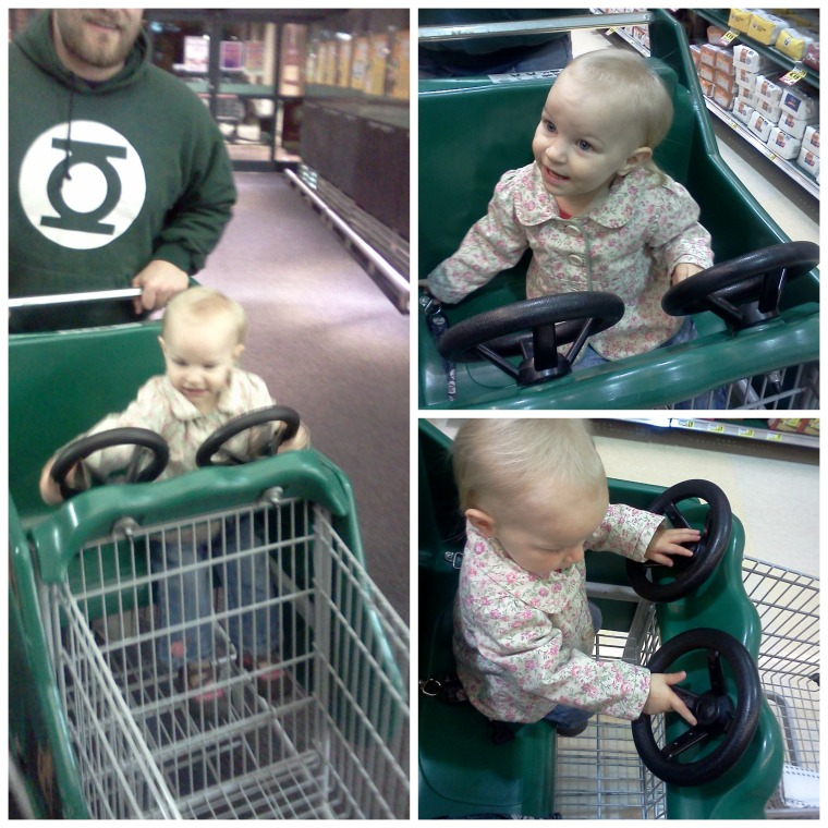 "Maddy's first time in a ""fun"" cart. She had a blast with both steering wheels to herself!"
