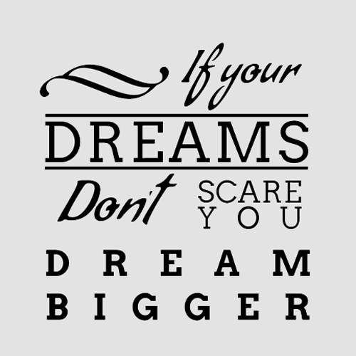 if your dreams dont scare you dream bigger